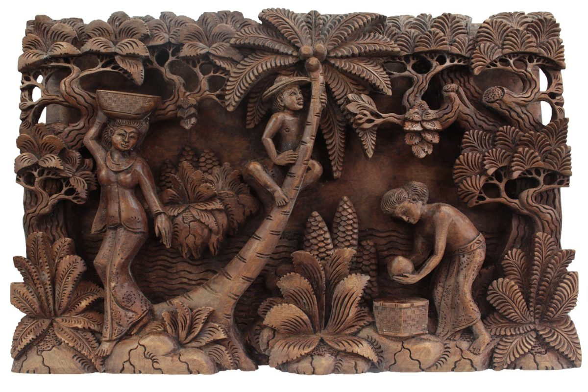 Bali Artisan Panels - Palm Tree & Flowers