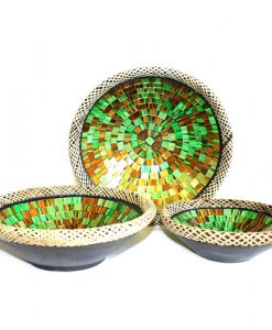 Set of three Golden Moss Mosaic pottery Bowls