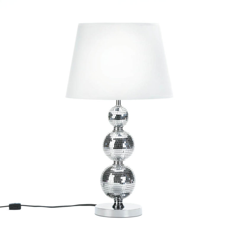 Broadway Glitz Table Lamp. Glitter Silver Lamp.